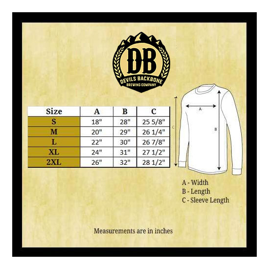 Devils Backbone Bella Canvas Long Sleeve T-Shirt Size Chart