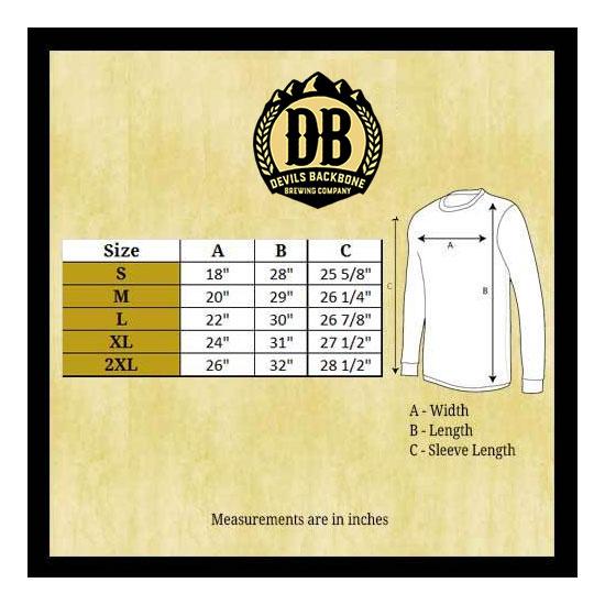 Devils Backbone Bella Canvas Long Sleeve T-Shirt Size Chart
