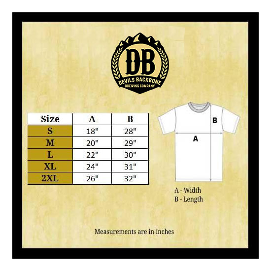 Devils Backbone Bella Canvas 3001 T-Shirt Size Chart