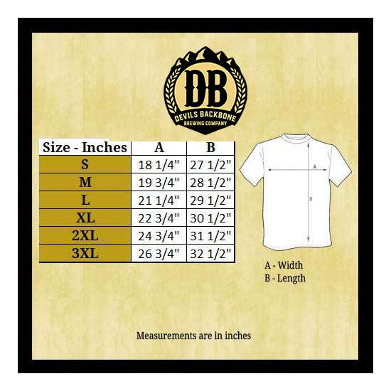 Devils Backbone Next Level 6010 T-Shirt Size Chart