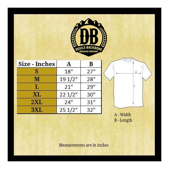 Devils Backbone Alternative Apparel Camo T-Shirt Size Chart