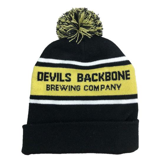 Devils Backbone Brewing Company Striped Beanie with Pom