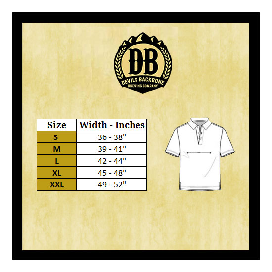 Devils Backbone Men's Polo Size Chart