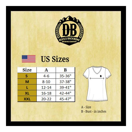Devils Backbone Ladies V-Neck T-Shirt Size Chart