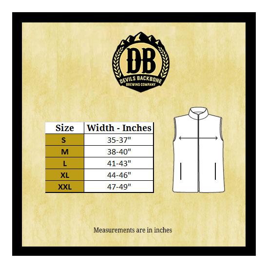 Devils Backbone Fleece Vest Size Chart