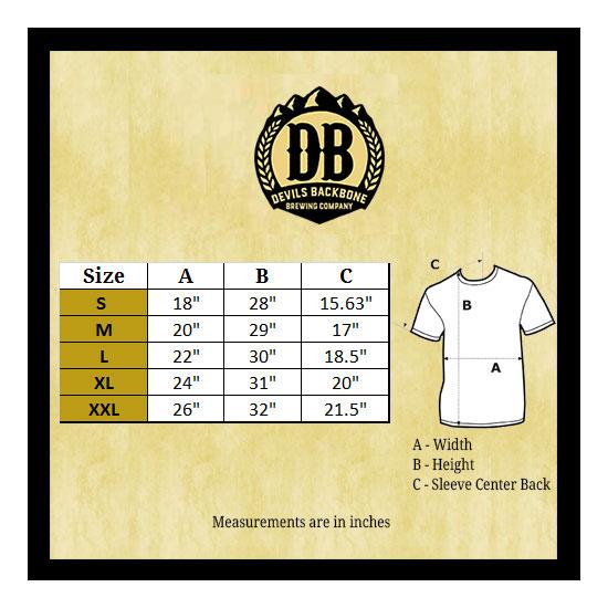 Devils Backbone G5000 T-Shirt Size Chart