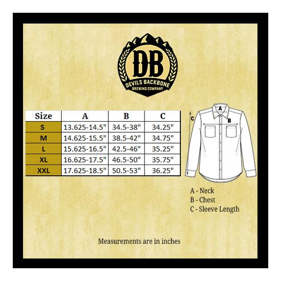Devils Backbone Work Shirt Size Chart