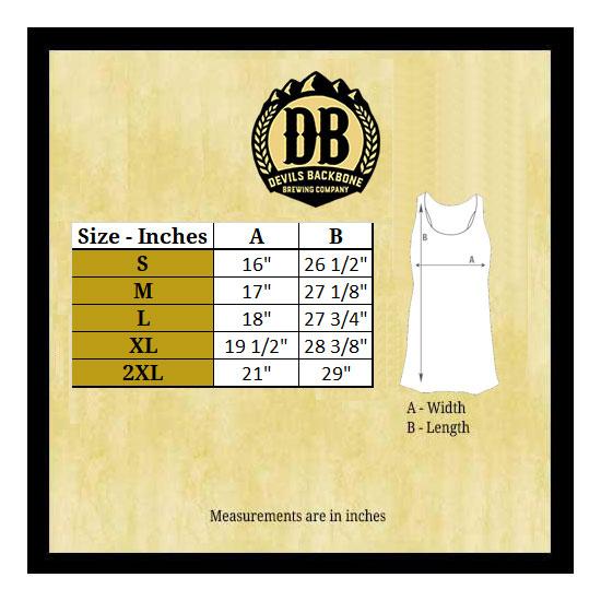 Devils Backbone Ladies Tank Size Chart