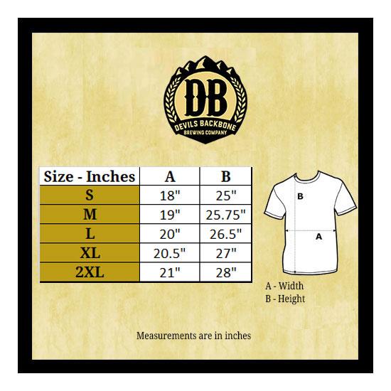 Devils Backbone All Over Design Women's T-Shirt Size Chart