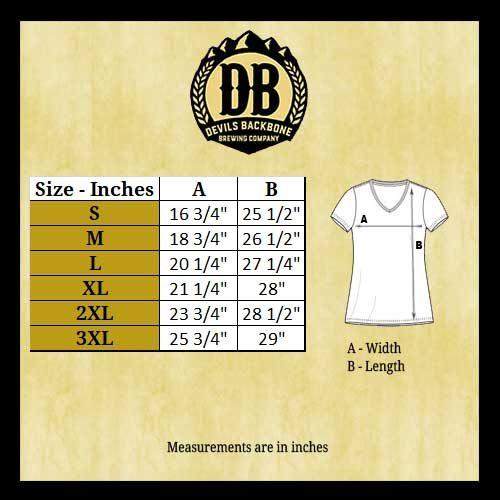 Devils Backbone Ladies V-Neck T-Shirt Size Chart - DM1170L