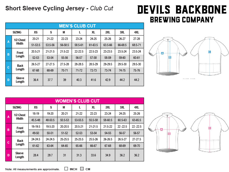 Devils Backbone Brewing Company Cycling Jersey Size Charts